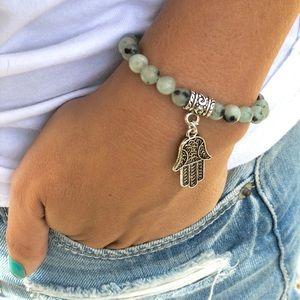 Jewelry - Dalmatian Jasper Hamsa Bracelet